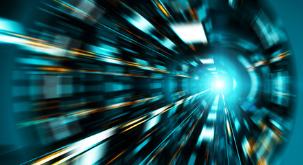 Abstract zoom effect in a blue dark tunnel background with traffic lights