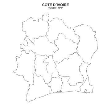 political map of Cote Divoire isolated on white background