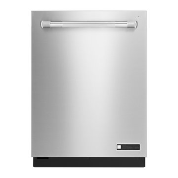Dishwasher Machine Isolated on White Background. Front View of Modern Fingerprint Resistant Stainless Steel Built-In Dishwasher Range. Domestic and Kitchen Appliances. Home Innovation