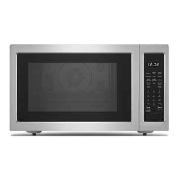 Microwave Oven Isolated on White Background. Front View of Brushed Stainless Steel Over-The-Range Countertop Convection Microwave Oven with Control Lockout Option. Kitchen and Domestic Appliances