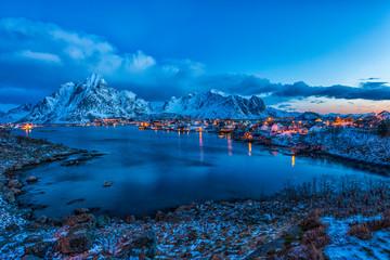 Norway, Lofoten, town of Reine at blue hour Fotobehang