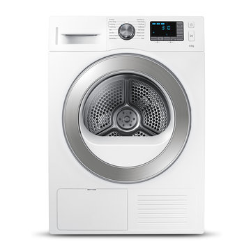 Washing Machine Isolated on a White Background. Front View of Modern White and Steel Washer Machine. Front Load Washer Machine with Electronic Control Panel. Domestic Appliances. Home Appliances