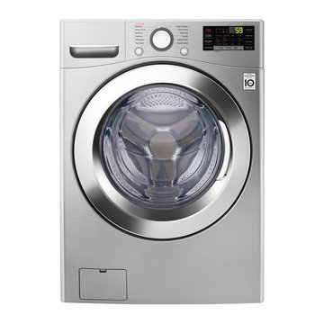 Washing Machine Isolated on White Background. Front View of Stainless Steel Modern Front Load Washer with Electronic Control Panel. Household and Domestic Appliance. Home Innovation