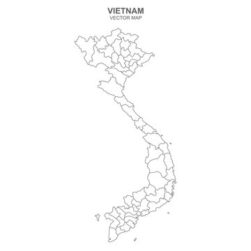 vector political map of Vietnam on white background