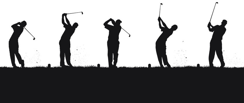 Vector silhouettes of golfers at the driving range.