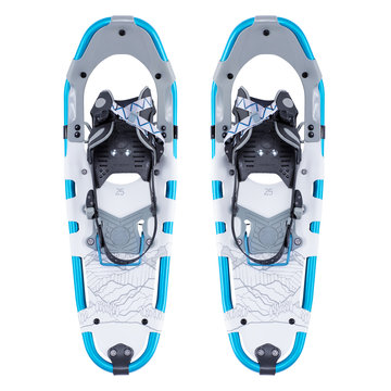 Wilderness Snowshoe Isolated on White Background. Ski Equipment. Snowboarding Protective Gear. Modern Blue and White Winter Hike Shoes for Alpine Hiking