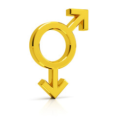 Gay symbol 3d render. Golden gay symbol isolated on white background.