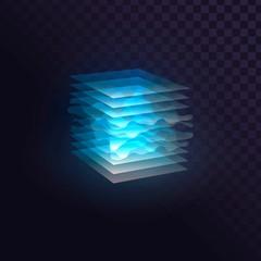 Obraz Glowing blue cube of transparent layers, futuristic block - fototapety do salonu