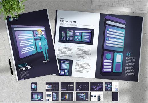Marketing Report with Digital Illustrations