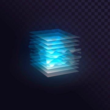Glowing blue cube of transparent layers, futuristic block