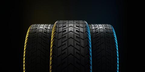 Three car tires lined up. 3d illustration