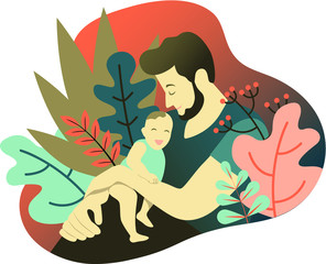 Father and son. Portrait of father holding his baby boy decorated with leaves. Flat design. Vector illustration.