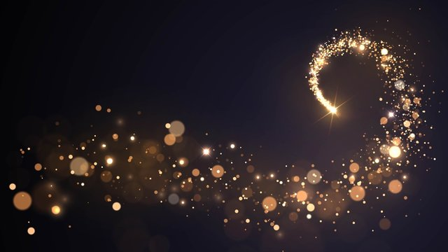 Background with a flying star and golden dust, sparkling spiral