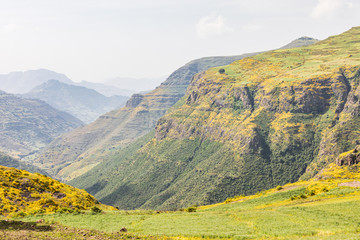 Mountains and valleys in the Ethiopian highlands