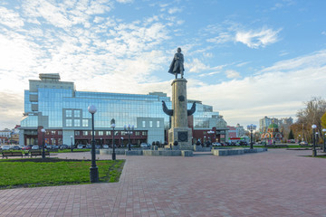 Statue of Peter the Great on Peter the Great square in Lipetsk