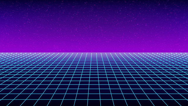 Synthwave backround template. Retro futuristic perspective grid backdrop. Simple sci-fi retro party flyer, banner, poster or cover. 80s or 90s style wireframe virtual scene. Stock vector illustration