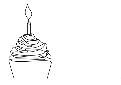cupcake-continuous line drawing