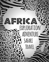 Africa, continent silhouette, animal print fill.