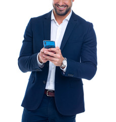 Professional businessman using smartphone concept isolated on white