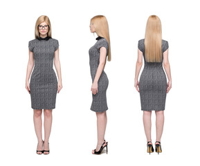 Blonde businesswoman front side back view isolated on white