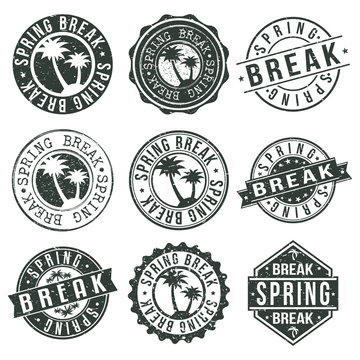 Spring Break Stamp. Logo Icon Symbol. Design Certificated Round.