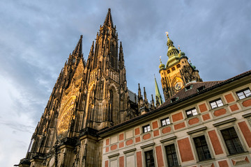 View of St. Vitus Cathedral in Prague Castle in Prague.