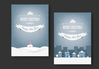 Christmas Card Layout with Driving Home with Presents Illustrations