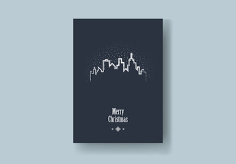 Christmas Card Layout with Skyline and Snow