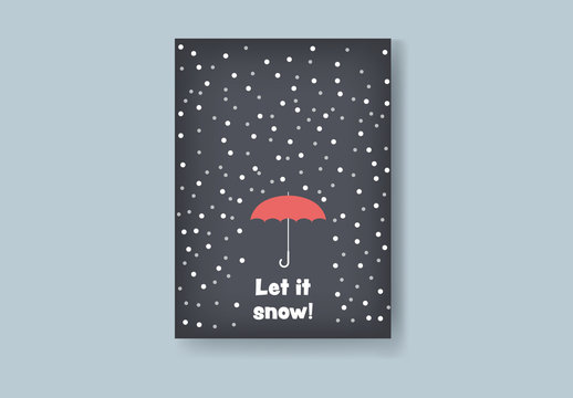 Christmas Card Layout with Umbrella and Snow