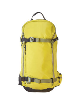 Front view of yellow backpack for skiing, trekking and other sport activities. Sport equipment isolated on white background