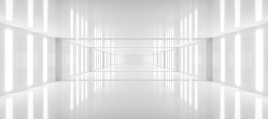 Obraz abstract white background architecture glossy room 3d render illustration - fototapety do salonu