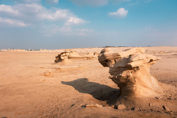 Fossil dunes landscape of formations of wind-swept sand in Abu Dhabi UAE