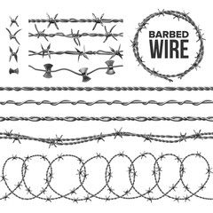 Barb Wire Collection With Razor Detail Set Vector. Modern Metallic Fencing Wire Chainlink With Sharp Elements For Area Protection. Industrial Barbwire Seamless Pattern Realistic 3d Illustrations
