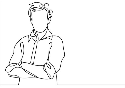 business man in a crossed his arms thinking - continuous line drawing