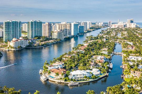 Flight over the Atlantic Coast of South Florida