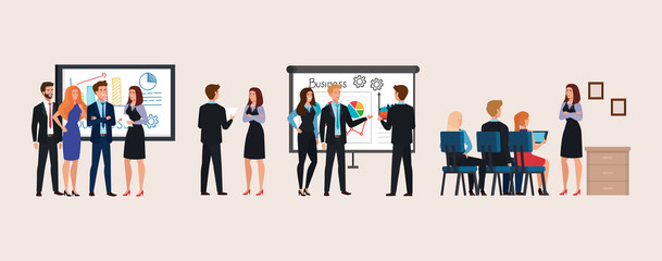 set of scenes business people meeting with infographics presentation vector illustration design