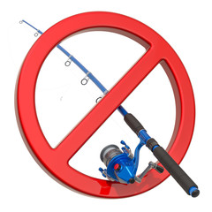 Fishing rod with forbidden symbol. No Fishing sign, 3D rendering