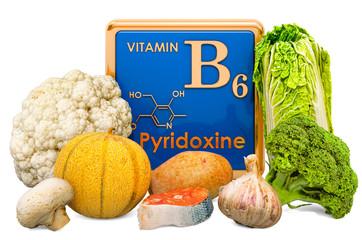 Foods Highest in Vitamin B6, Pyridoxine. 3D rendering