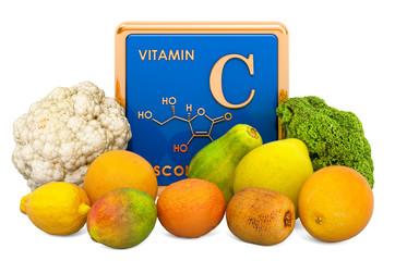 Foods Highest in Vitamin C, Ascorbic Acid. 3D rendering