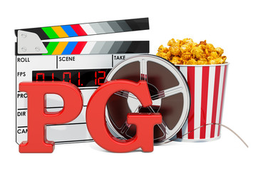 PG Guidance Suggested, film rating system concept. 3D rendering