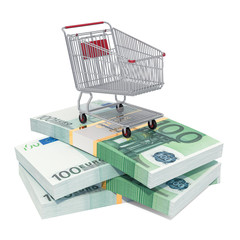 Shopping cart on the euro packs, 3D rendering