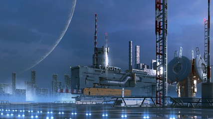 Fotomurales - Science fiction technological city on an alien planet