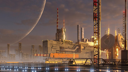 Fotomurales - Futuristic technological architecture on an alien planet