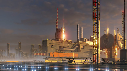 Fotomurales - plant, refinery, petrochemical,