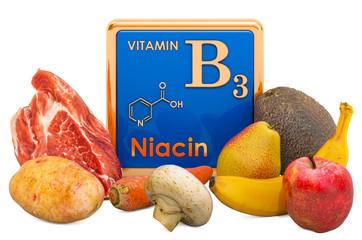 Foods Highest in Vitamin B3, Niacin. 3D rendering