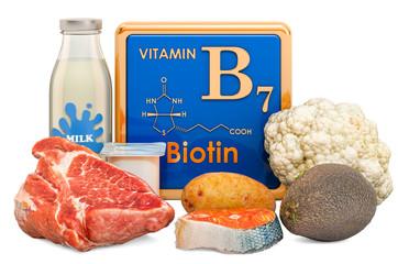 Foods Highest in Vitamin B7, Biotin. 3D rendering