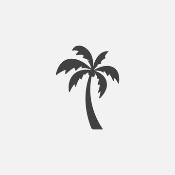 Palm tree silhouette icon vector, Palm tree vector illustration, coconut tree icon vector illustration, simple flat vector illustration