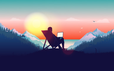 Work from anywhere. Man in sun chair working on laptop with a beautiful view of nature, forest, mountains and ocean in the background. Freelance and freedom concept. Vector illustration. Fotomurales