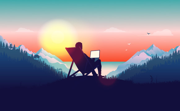 Work from anywhere. Man in sun chair working on laptop with a beautiful view of nature, forest, mountains and ocean in the background. Freelance and freedom concept. Vector illustration.
