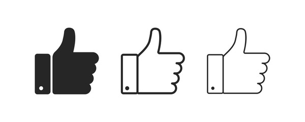 Thumb up and down. Isolated vector flat outline icon. Social media icon. Vector button. Black thumb up isolated icon. Vote symbol tick.